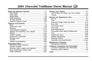 2004 Chevrolet TrailBlazer Owner Manual [PDF] [English]